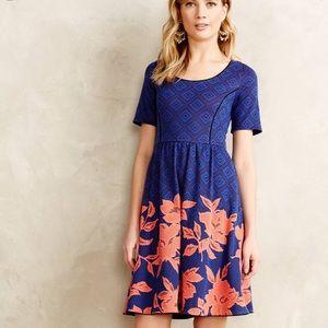 EUC Anthropologie Blue Blushed Blooms Dress